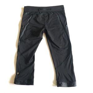LULULEMON Cropped Black Satin Trim Workout Pants